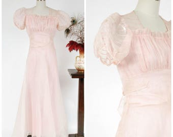Vintage 1930s Dress - Flirty Sheer Pink Silk Organza 30s Garden Party Gown with Built in Slip & Puffed Sleeves