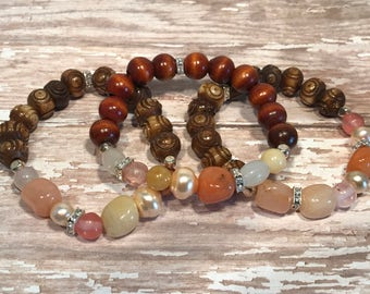 Gemstone and wooden bead stretch bracelets-set of 3