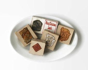 Antique Metal Christmas Seals, Stanley's Metal Adhesive Christmas Seals, Vintage Christmas Seals, Antique Christmas Ephemera, Craft Supplies