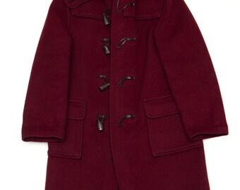Burgundy Wool Toggle Coat