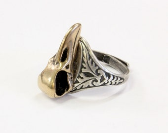 Raven Skull Ring Bronze Bird Crow Corvid 523
