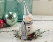 Snowman // Christmas Decoration // Vintage Style Christmas // Ornament // Tin Light Reflector //  Folk Art // Cottage Chic ////
