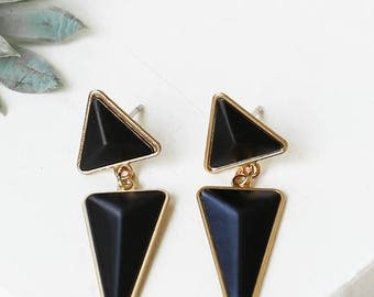 Jagger Earrings, Post Earrings, Triangle Earrings, Dangle Earrings, Black Earrings, Golden Earrings