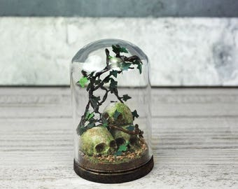 Terrarium Skulls Moss - Miniature Glass Dome Display - Leaf- Home Decor -Goth- Antique Look 2.75 x 1.73 inches / 7 x 4,4 cm