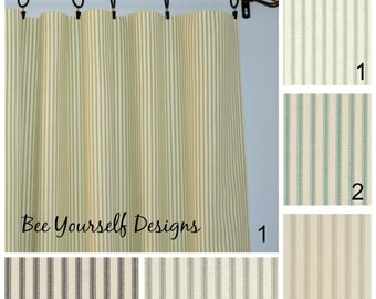 "Ticking Curtain Panels - Pair of Rod Pocket Drapes -Ticking Stripes -  Green, Gray, Charcoal or Aqua 25"" or  50"" wide - You choose length"