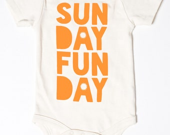 Sunday Funday -  fun baby clothes for boys and girls, hand printed organic baby bodysuit, present for new parent, gender neutral shower gift