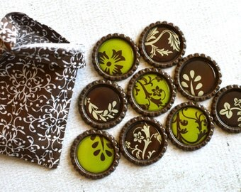 Floral Kitchen Magnets- Brown and Green Vine Magnets- Botanical Bottlecap Magnets- Vine with Flowers and Leaves- Kitchen or Office Magnets