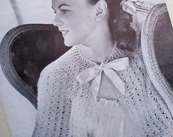 Vintage 1950s Knitting Pattern Women's Cape Shawl Wrap Bedroom Wear Lingerie 50s original pattern Jaeger UK 3263 UK lacy feminine design