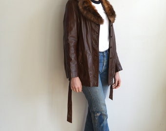 Vintage Leather Jacket with Fur Collar/ 70s Penny Lane/ 1970s Brown Leather Coat/ Size Medium