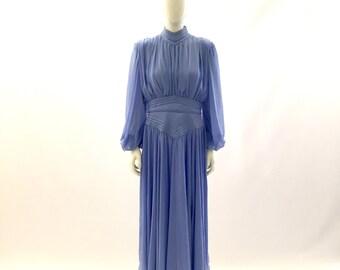 Vintage Dress Sheer Dress Long Sleeve Dress Periwinkle Dress Blue DressFormal Dress Church Dress Wedding Dress Bridesmaids Dress