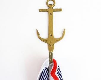 Mid Century Brass Anchor Hook / Vintage Nautical Brass Wall Hook / Retro Brass Coat Hook / Vintage Nautical Hook / Brass Anchor Coat Hook