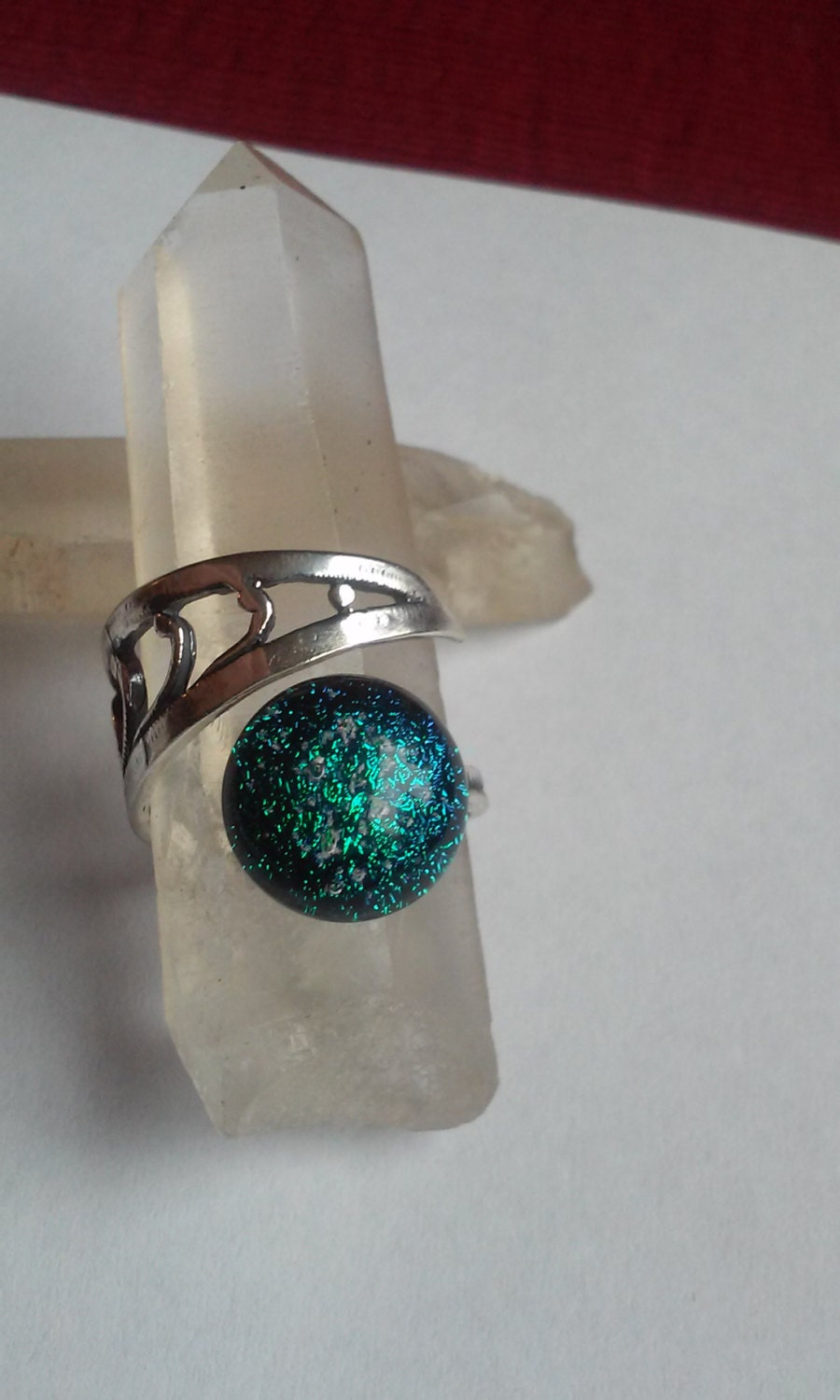 Cremation jewelry ring ashes infused glass urn sterling silver for Cremation jewelry for pets ashes