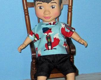 "Wonder Crew, Doll Clothes, Sly Fox Top and Short Set,14""  or 15"" Doll Clothes, Boy Doll Clothes, Will, James, Erik, Marco"
