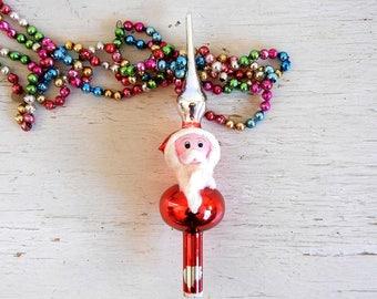Vintage Christmas Tree Topper | Vintage Santa Claus Topper | Figural Topper | Glass Santa Tree Topper