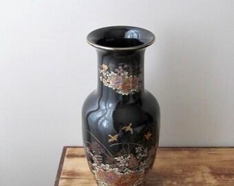 large floral vase black gold chrysanthemums quails partridge asian decor