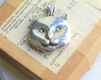 Sterling Cat Locket - 925, Sterling Silver, Locket