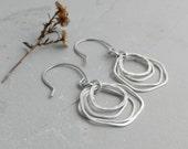 Sterling Handmade Four Angled Hoop Earrings~Artisan Earrings~Lightweight