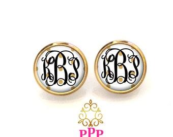 Monogram Earrings, Monogram Jewelry, Initial Earrings, Monogrammed (526)