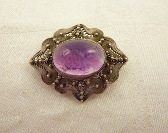 Antique Fine Sterling Silver Filigree Large Amethyst Cabochon with Beautiful Inclusions Brooch
