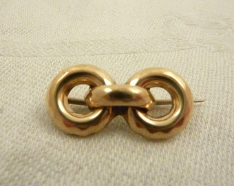 Antique Victorian 10K Gold Faceted Infinity Links Brooch