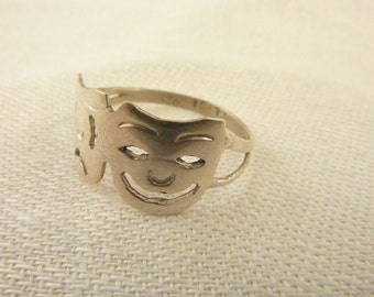 Vintage Sterling Silver Theater Masks Ring Size 6