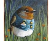 Mr. English Robin Note Card - English Robin Wearing a Blue Vest with a Pocket Watch