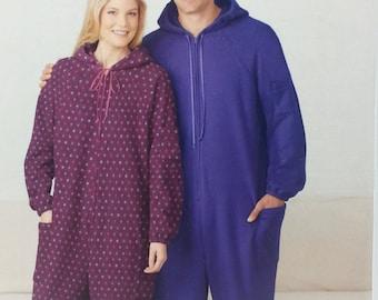Adult Fleece Sleeper Jumpsuit Pattern Simplicity 1053 Teen Misses Mens Pajama Jumpsuit Pattern Misses Mens Size XS to Xlarge