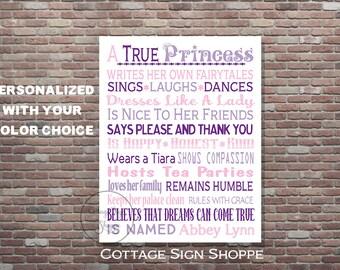 Girls Princess Wall Art, A True Princess Wall Art, DIY Printable ART, YOU Print, Princess Decor, Girls Nursery Art, Princess Nursery Decor