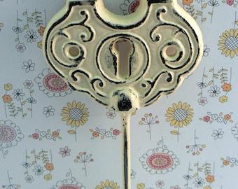 Padlock Shabby Style Chic Hook Jewelry Holder Lock Key Hook Cream Off White Leash Jewelry Coat Hat Keys Bathroom Towel Mudroom Nursery  Hook