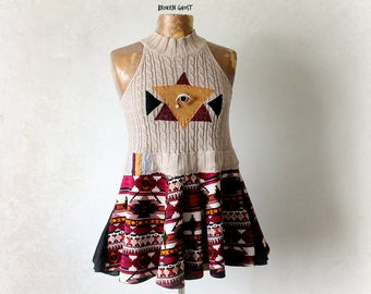Fit Flare Top High Neck Tank Tribal Clothing Eco Chic Fashion Boho Women's Shirt Applique Evil Eye Bohemian Festival Peplum Top S M 'MANDY'