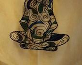 Déesse Figure autel brodé à la main bleu-vert en tissu