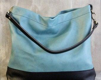 Black and Teal Leather Hobo Bag