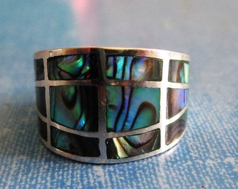 RING - WIDE - Band  - ABALONE   - Estate Sale -  Sterling Silver  - Size 7 abalone45