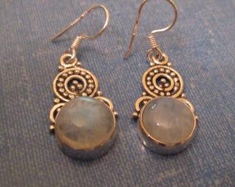 EARRINGS - MOONSTONE - ORNATE - Estate Sale  - Dangle - Fish Hook  - Sterling Silver - earrings 427