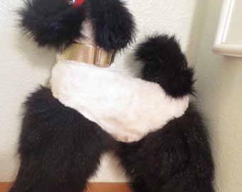 "Cute KITSCHY Vintage 1950s Natural MINK POODLE  15"" tall Black and White"