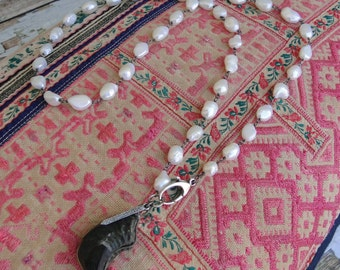 PEARLS with HIMALAYAN FOSSIL and Diamond Spike Necklace, yoga, boho, tribal