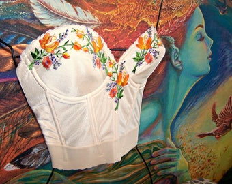 Corset Top, Embroidered Top, Mexican, Gypsy, Floral Top
