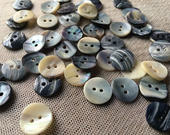 20 BLue Mussel Mother of Pearl Buttons 24L about 15mm for Knitting, Jewelry, Garments, Crafts BU 92