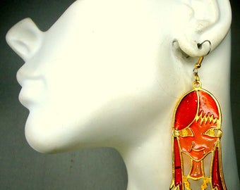 Mod Girl Dangle Earrings, 1960s Plique-a-Jour Psychedelic Red Orange Gold Gal on Wires, Pierced