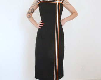 1960s Tri-Stripe Dress | Vintage 60s Black Linen Midi Dress | Small S Medium M
