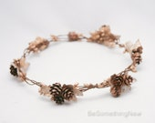 Winter Wedding Crown, Pine Cone and Gold Leaf Wreath Wedding Hair Accessory Rustic Bridal Headpiece