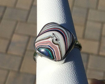 Fordite Sterling Silver Statement Ring - Striped Paint Detroit Agate - US Size 8 1/4