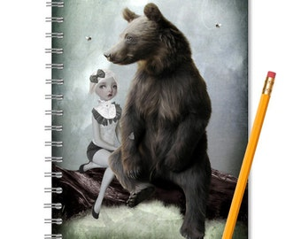 Fairytale Notebook - Goldilocks And Bear - LINED OR BLANK pages, You Choose