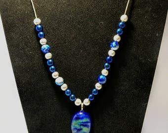 Blue Stone Beaded Necklace