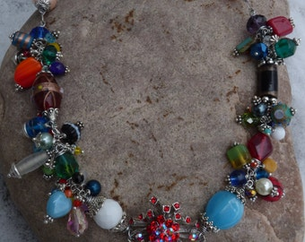 Upcycled Rhinestone Beaded Funky Awesome Necklace~FREE SHIPPING!