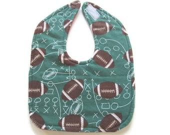 Football Baby Bib - Sports Theme Baby Bib - Tartan Plaid Bib  - Reversible Flannel Baby Bib