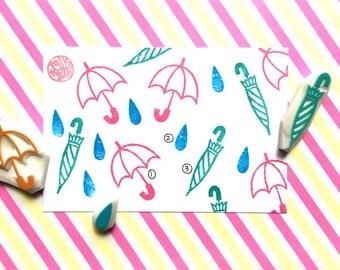 umbrella rubber stamp. open umbrella stamp. closed umbrella stamp. rain drop stamp. spring papercrafts. gift for kids. choose option