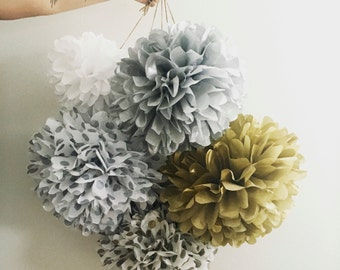tissue paper pom poms / NYE PARTY / 5  / new years eve party decorations / shiny poms / silver anniversary / metallic gold silver / pompoms