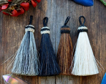 """Bold Rustic Horse Hair Tassels, 3.5"""", Handmade Horse Tassel Pendant / Natural Colors, Western, Keychain, Adornment, Pick your color, 1pc"""