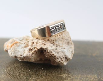 vintage 14k gold diamond mens ring 3 stone art deco antique wedding band 1/3 CT